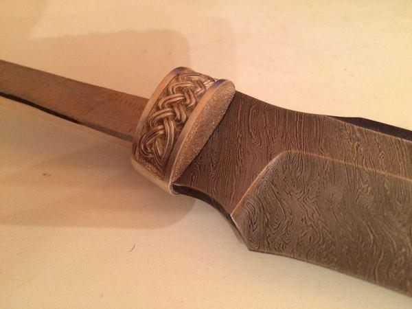 Нож своими руками. клинок - дамасская сталь. рукоять и ножны - карельская береза. больстер и тыльник - серебро. нож, серебро, серебро 925, Дамасская сталь, карельская береза, длиннопост