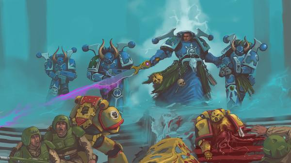 Sudden strike Warhammer 40k, wh art, фан-арт, имперская гвардия, adeptus astartes, насилие