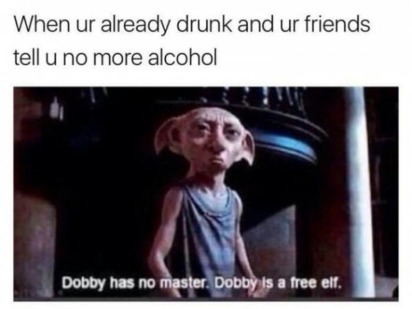 Когда ты уже бухой и друзья говорят больше не пить 9gag, Добби свободен, друзья, алкоголь, Гарри Поттер