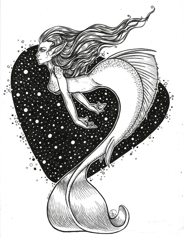 #Mermay вдогонку. рисунок, лайнер, графика, русалка, mermay, Кривые руки