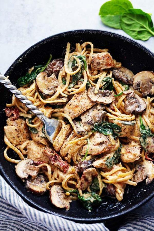 Паста с курицей, грибами и зеленью. курица, макароны, сыр, зелень, рецепт, Ежедневник Поварёшки, длиннопост