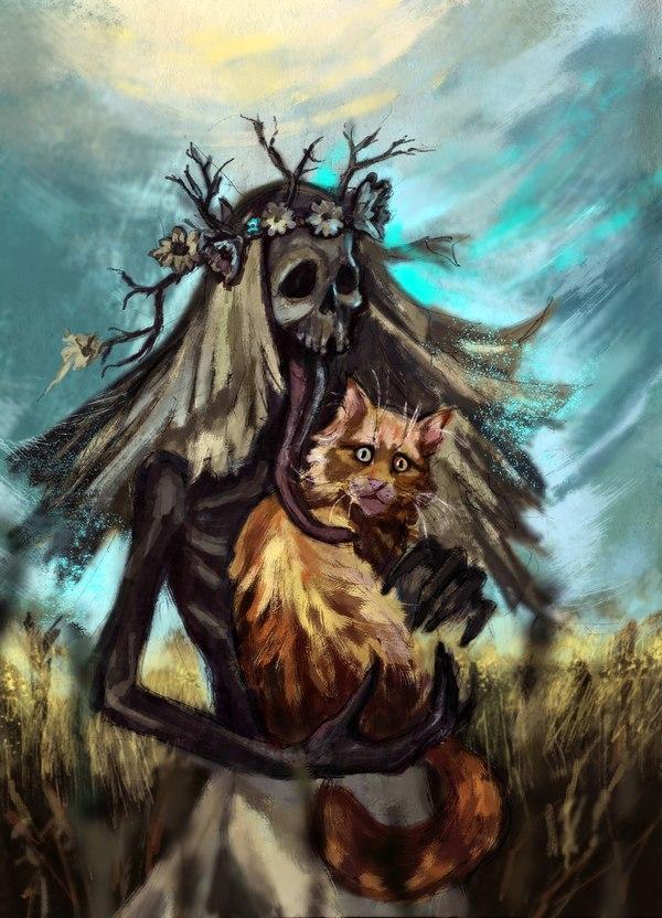 Полуденница Ведьмак, скетч, ведьмак арт, фан-арт, кот, полуденница