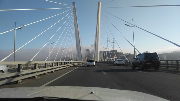 Владивосток, 07:24 утра Владивосток, Фотография, Мост, Туман, Утро