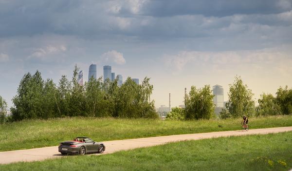 По велодорожке на кабриолете (вчера на Крылатских) Крылатское, Porsche, Нарушение ПДД