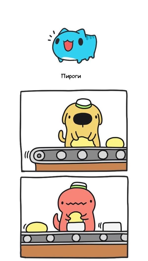 Проглот! BugCat-Capoo, бракованный кот, кот, Комиксы, пирог, торт, прожорство, десерт, длиннопост