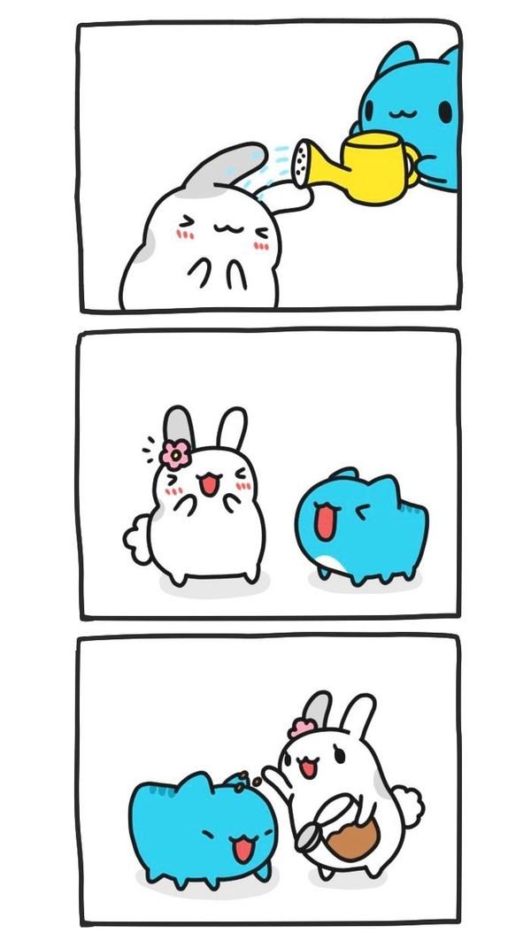 Стильно! BugCat-Capoo, бракованный кот, кот, Комиксы, дерево, цветок, прическа, поливка, длиннопост