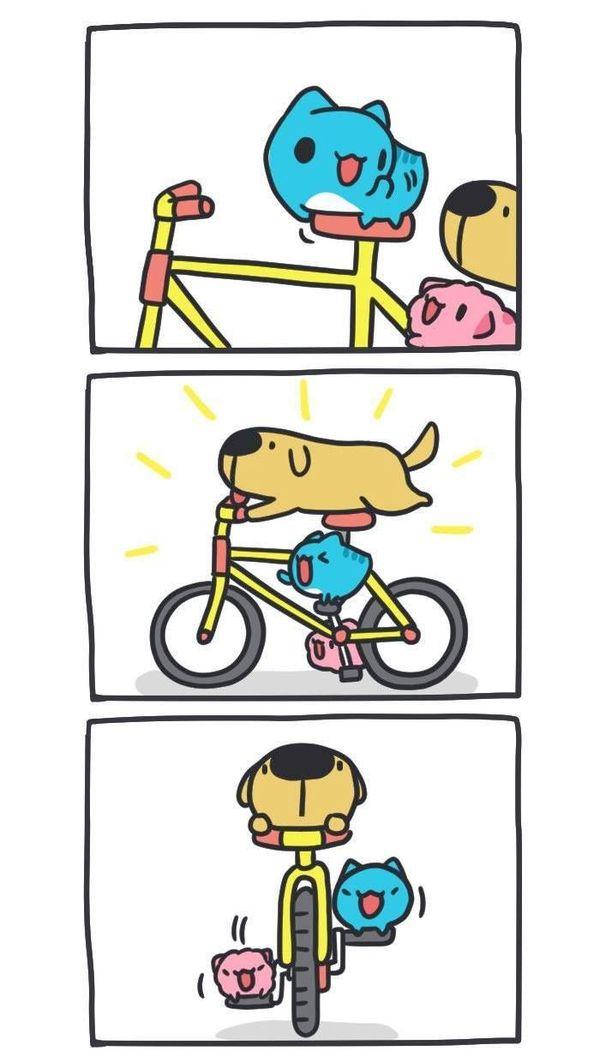 Осторожная езда! BugCat-Capoo, бракованный кот, кот, Комиксы, велосипед, команда, езда, авария, длиннопост