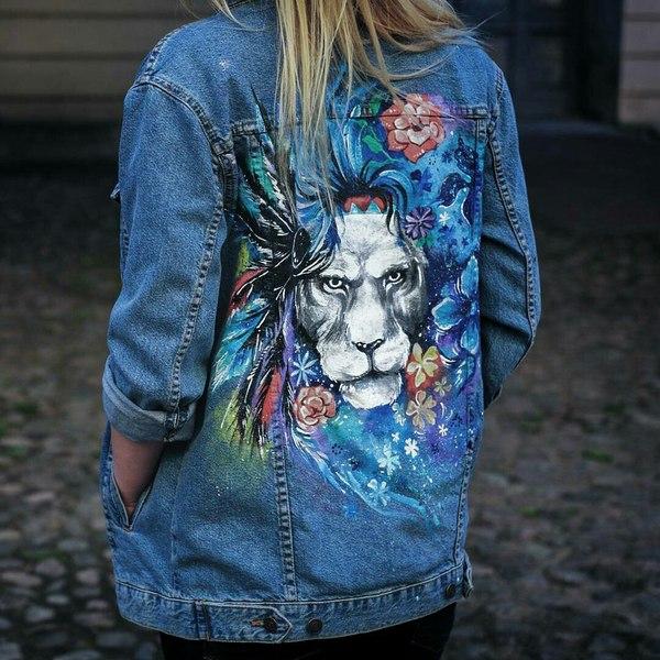 Роспись джинсовой куртки Рисунок, Лев, Животные, Арт, Творчество, Одежда, Роспись, Роспись по ткани, Длиннопост