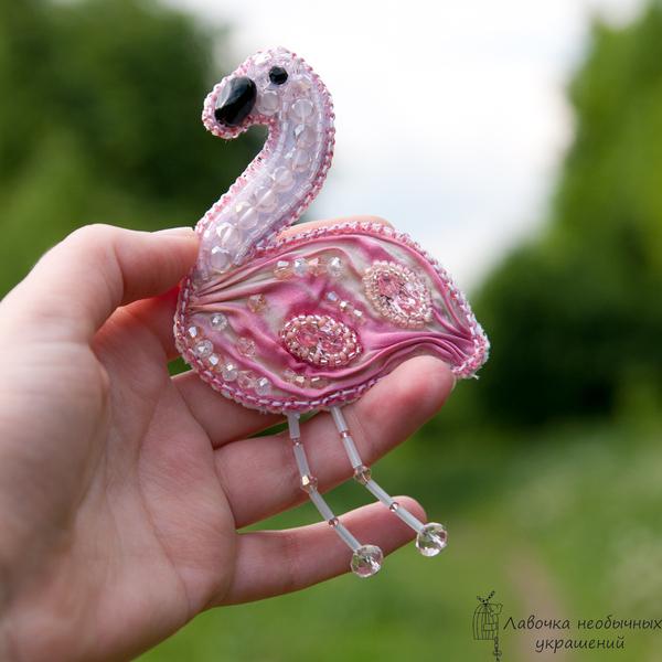 Броши Фламинго, вышитые бисером и бусинами птицы, ручная работа, украшения ручной работы, украшения из бисера, фламинго, handmade, длиннопост