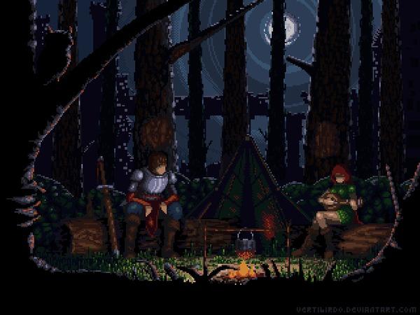 Ночной привал Pixel art, Фэнтези, Лес, Ночь, Гифка, Coub