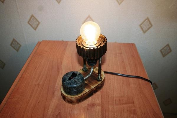Лампа из старых железок Настольная лампа, своими руками, handmade, стимпанк