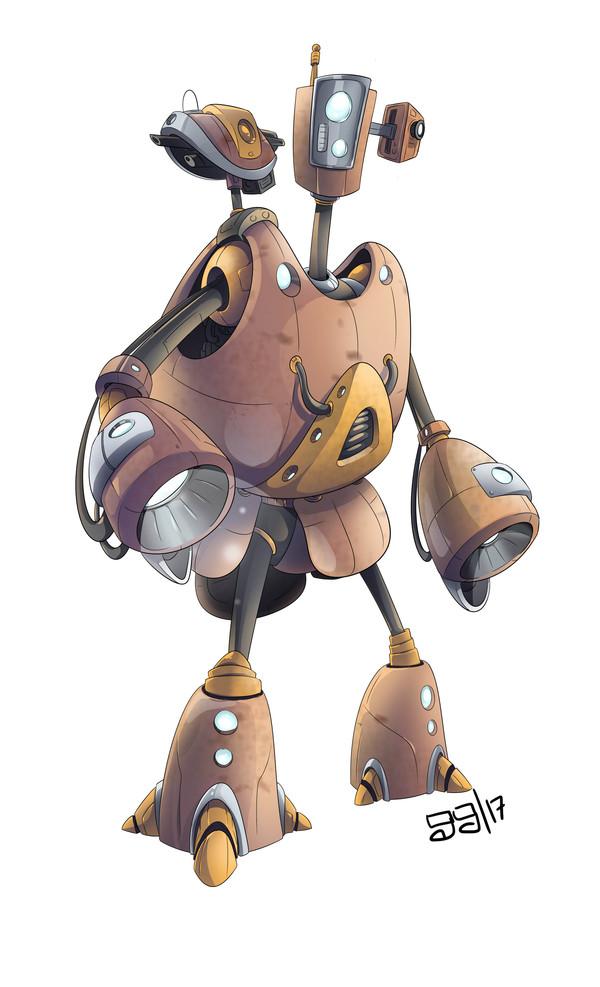 Песочный робот Робот, Photoshop, рисование, иллюстрации, гифка, длиннопост