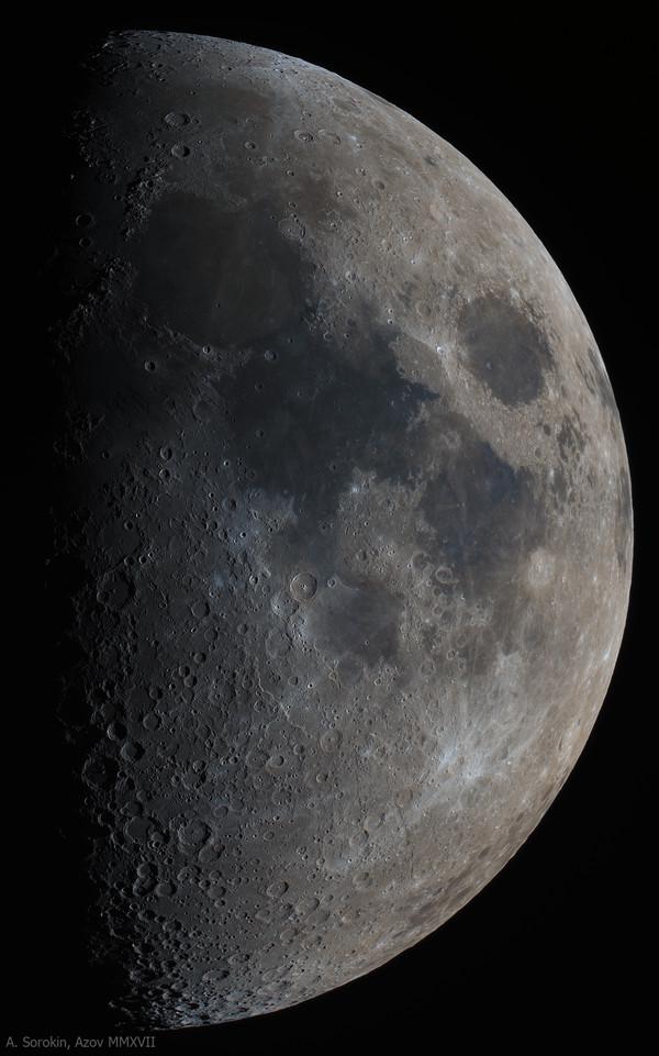 Свежая Луна в цвете астрофото, космос, Луна, кратеры, телескоп, астрономия