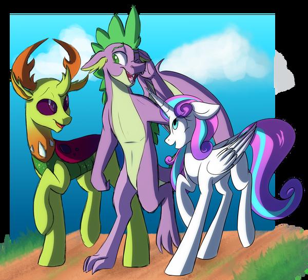 Все стареют, даже пони и драконы My little pony, Ponyart, Thorax, Spike, Flurry Heart