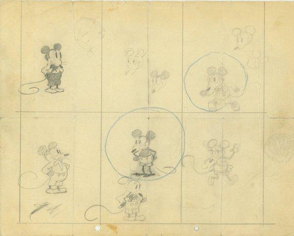 Первые зарисовки Микки Мауса в исполнении Уолта Диснея Уолт Дисней, Микки маус, Первый зарисовки