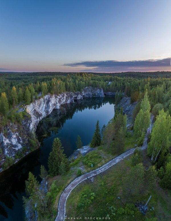 Рассвет в парке Рускеала Рускеала, карелия, Карелия  моё  лето  природа, фотография, квадрокоптер, красота природы, Россия, длиннопост