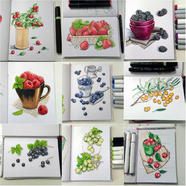 Рисунки маркерами (Ягоды) маркер, рисунок маркером, рисунок, спиртовые маркеры, длиннопост