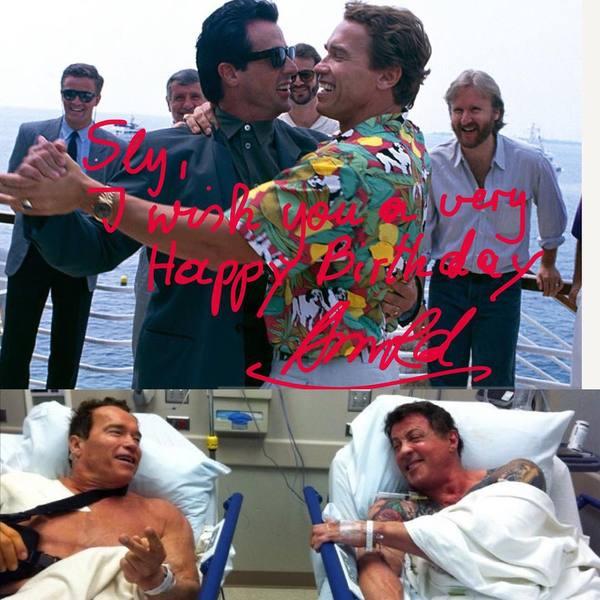 Арнольд поздравил Слая с 71 летием. поздравление, Арнольд Шварценеггер, Сильвестр Сталлоне, звездыкино