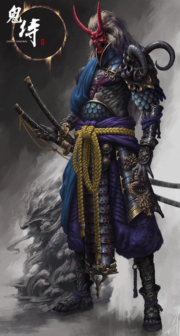 Удивительные персонажи длиннопост, Epic life, Художник, арт, Самурай, ниндзя, воин, Xiaojian Liu