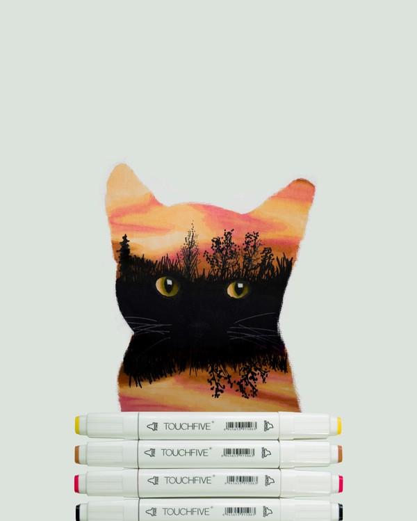 Тестик маркеров кот, скетч, моё, маркер, рисунок маркером