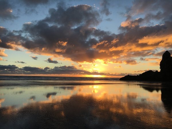 Закат где-то на краю света Закат, Пляж, Новая зеландия, Фотография