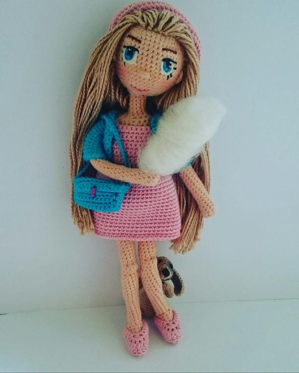 Девочка с таксой. Кукла, своими руками, амигуруми вязание, вязание крючком, длиннопост, рукоделие без процесса