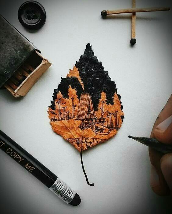 Это рисунок маркером по сухому листочку) Листок, рисунок, маркер