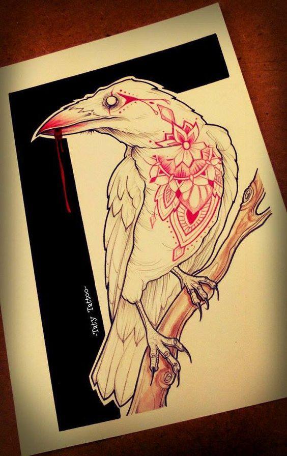 Вороны: подборка эскизов татуировок тату, лига любителей татуировки, длиннопост, ворон, ворона