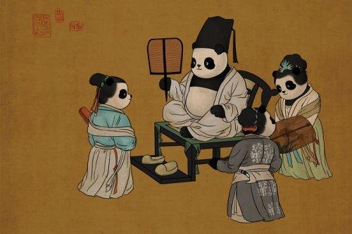 Панды на полотнах известных классических картин панда, известные художники, пародия, длиннопост