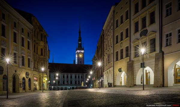 Синее и черное архитектура, вечер, ночь, город, Памятник, площадь, Оломоуц, Чехия