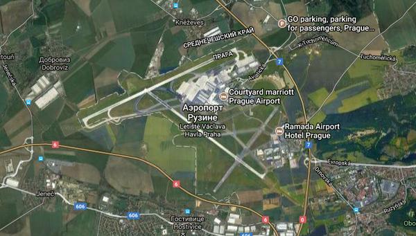 Аэропорт в Праге похож на летящий самолет Аэропорт, Спутник, Вид сверху, План, Прага