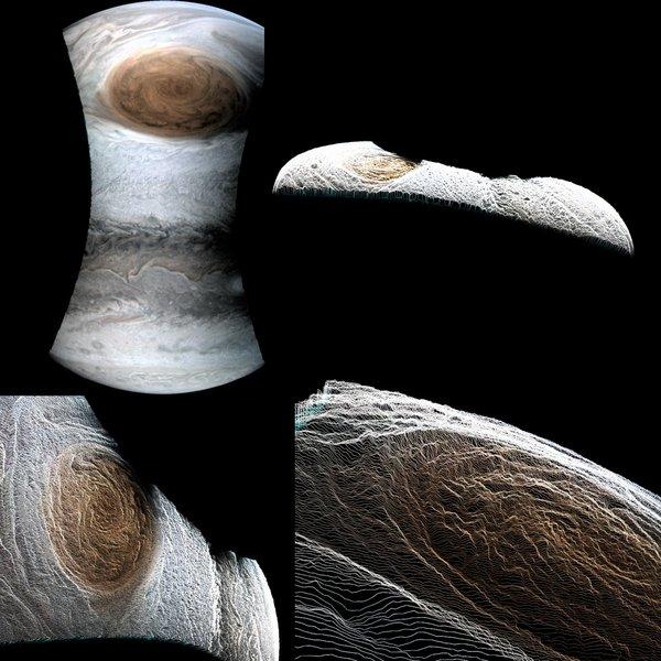 Трехмерное изображение, показывающее глубину Юпитерианских бурь