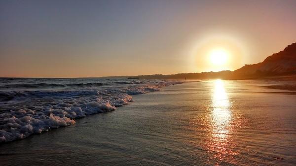 Закат на Атлантике, Португалия, пляж Фалесия. Битва закатов, Природа, Отдых, Лето