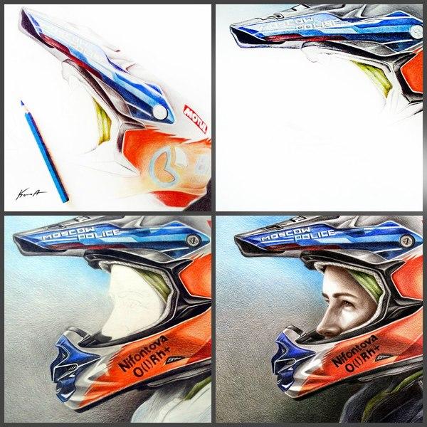 Портрет Анастасии Нифонтовой (российская мотогонщица, участница «Дакара-2017»). Мото, мотоциклист, экстрим, художник, портрет, мотоциклы, цветные карандаши