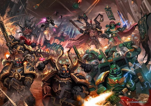 Битва Warhammer 40k, wh art, космодесант, хаос
