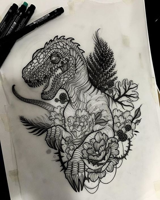 Подборка эскизов: динозавры тату, длиннопост, лига любителей татуировки, эскиз, динозавры, не мое
