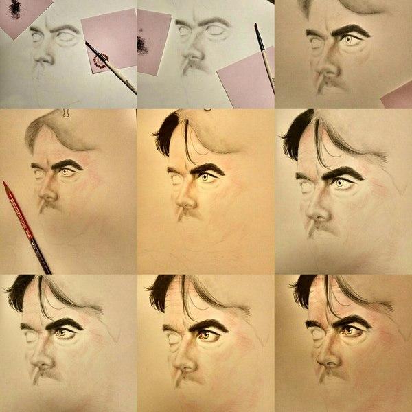 Тщательный процесс рисования АКТЁРА из НОВОЙ ЗЕЛАНДИИ рисование, актеры, хобби, пошаговое рисование, художник-самоучка, начинающий художник, Хабаровск, портреты людей, длиннопост