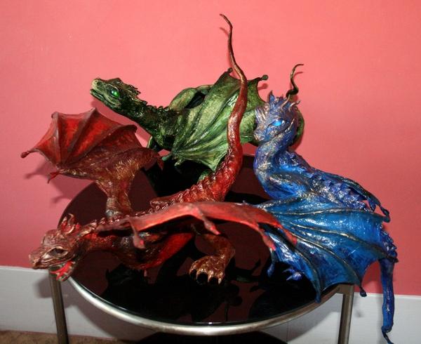 Семья драконов дракон, своими руками, игра престолов, рукоделие без процесса, моё, рукоделие, моделизм, фентези, длиннопост