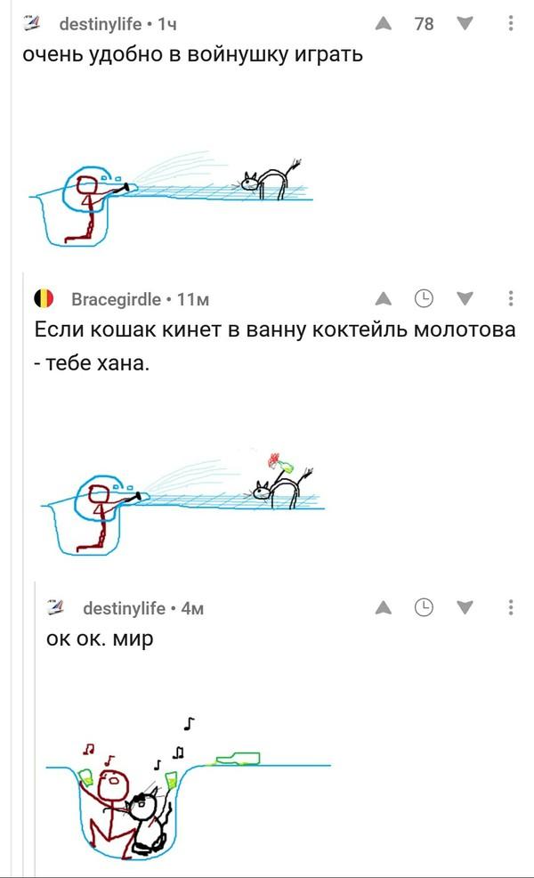 Как в ванной играть в войнушку с котом