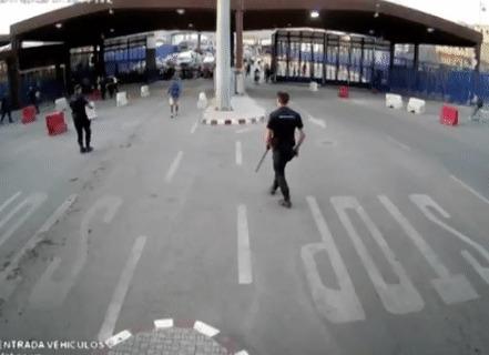 Европейский полицейский, вежливый полицейский Полиция, Заграждение, Вежливость, Гифка