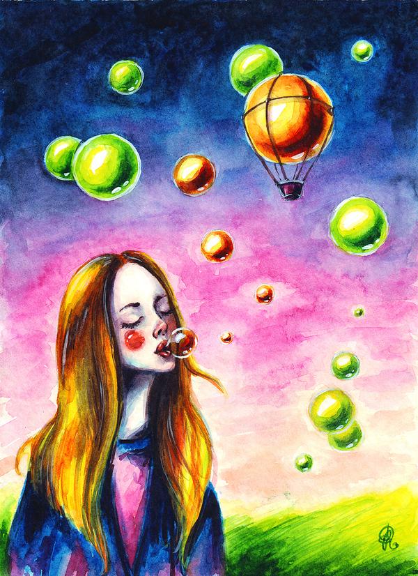 Загадай желание иллюстрации, рисунок, акварель, Рыжая