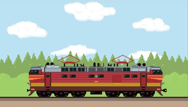 Электровоз ЧС4т + пассажирский состав Pixel art, Поезд, Гифка, Электровоз, Ржд, Длиннопост