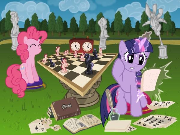 Endgame! My Little Pony, ponyart, Pinkie Pie, Twilight Sparkle, шахматы