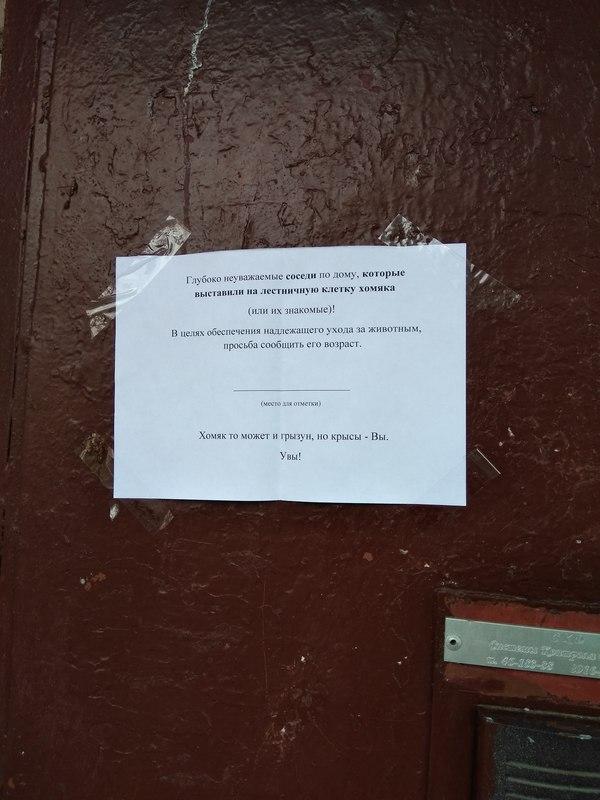 Объявление на двери подъезда