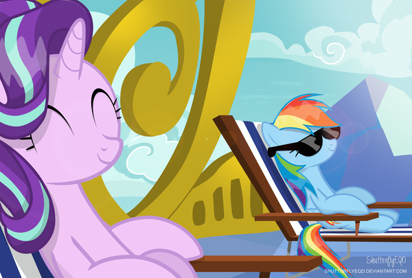 Sun Rays, and Cool Shades! My Little Pony, ponyart, Rainbow Dash, Starlight Glimmer