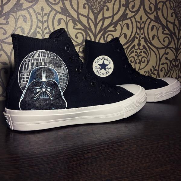"""Роспись кед """"Star Wars"""". Star wars, Роспись обуви, Дарт Вейдер, R2D2, Роспись по ткани, Длиннопост"""