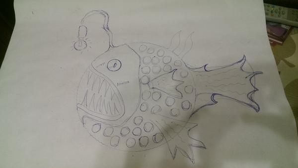 """Ресайкл арт светильник """"Рыба-удильщик"""" ресайкл арт, светильник, рыбалка, улов, Рыба, лампа, рукоделие с процессом, запчасти, видео, длиннопост"""
