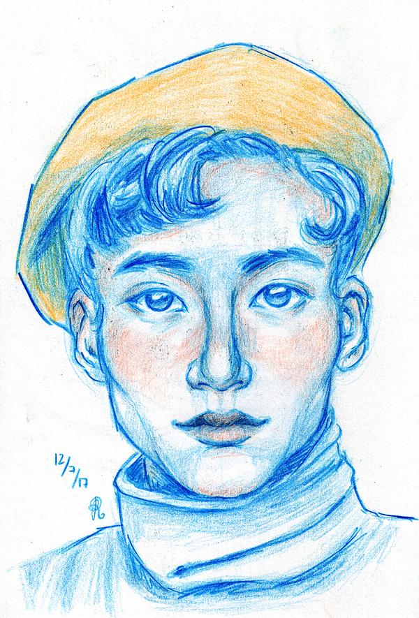 Азиатский парень в берете рисунок, рисунок карандашом, иллюстрации, Портрет, азиаты
