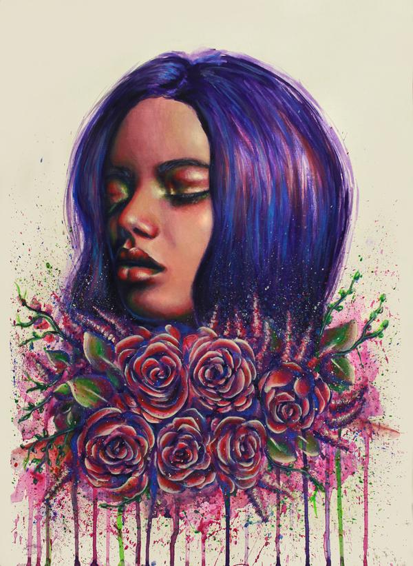 Violet картина, Портрет, девушки, цветы, рисунок, творчество, Художник