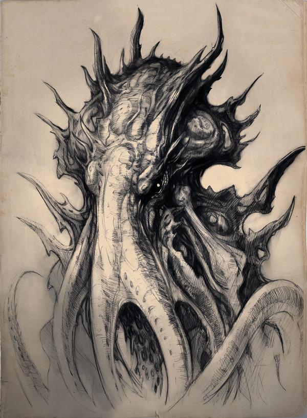 Зарисовки по Лавкрафту Лавкрафт, Lovecraft art, Мифы Ктулху, Хребты безумия, Ми-Го, TJ Frame, длиннопост